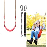 Swing Seat with Adjustable Rope Tree Swing Straps Mounting Carabiners Heavy Duty Swing Sets Accessories and Replacement Seat Outdoor Tree Swing for Kids Adults in Outdoors Playground Jungle & Gym