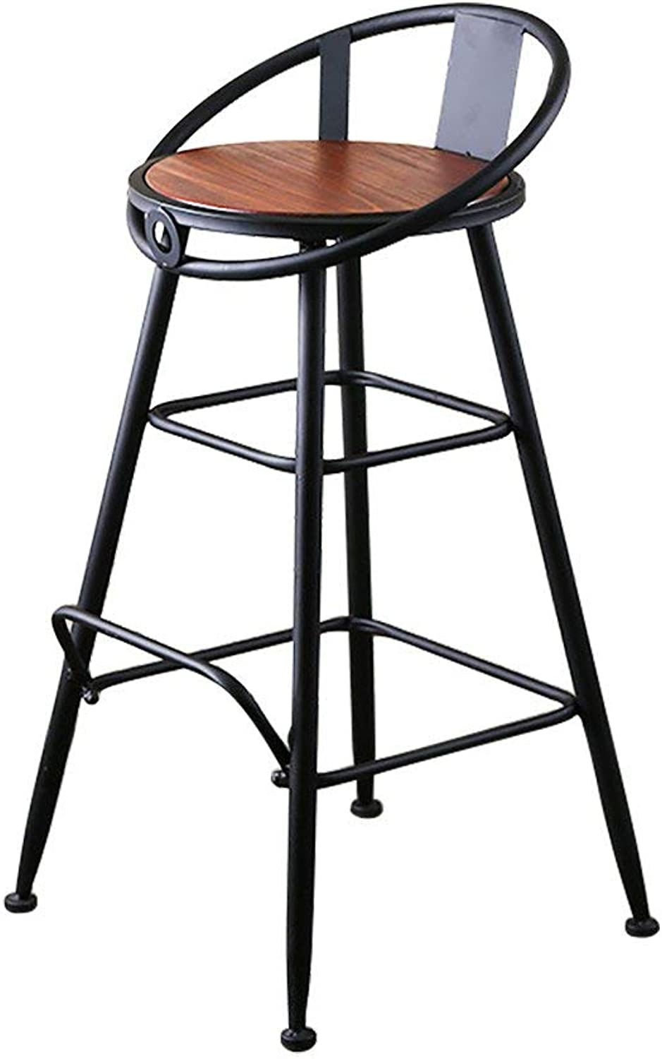 Retro Bar Chair, Creative Solid Wood Back Bar Stool, Casual Cafe Dining Chair High Chair Counter Chair (Size   65CM)