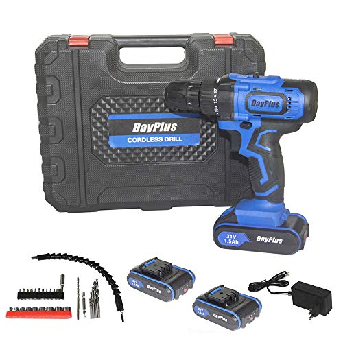 Cordless Drill Driver, 21V MAX Impact Drill - 3/8' Chuck, 29N.M Torque, 18+1 Clutch, Variable Speed, 2 Batteries, Built-in LED- for Drilling Wall, Wood, Metal