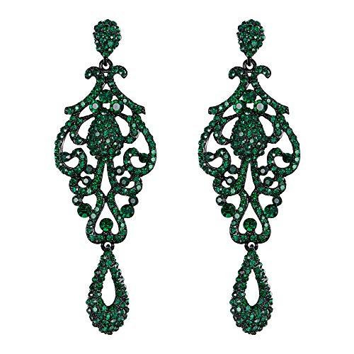 EVER FAITH Mujer Cristal Austríaco Boda Vintage Flor Patrón Ahuecado Pendientes Verde Tono Negro