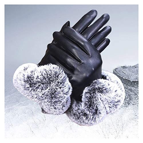 SSN Windstopper Guantes Térmicos Antideslizante A Prueba De Viento Caliente Guantes Pantalla Táctil Táctiles Transpirables Hombres De Invierno Mujeres Guantes De Cremallera Negra (Color : Negro)