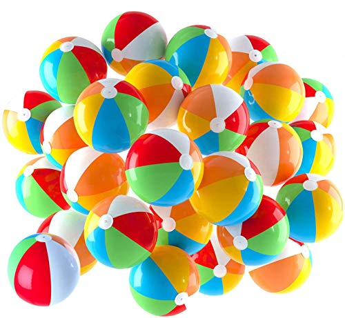 Inflatable Beach Balls 5 inch for The Pool, Beach, Summer Parties, Gifts and Decorations (25 Balls)
