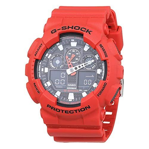 Casio G-Shock GA-100B-4AER - Reloj digital de cuarzo con alarma y cronógrafo de resina roja