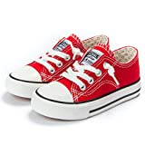 Weestep Toddler Little Kid Boys and Girls Slip On Canvas Sneakers(12 Little Kid, Red)