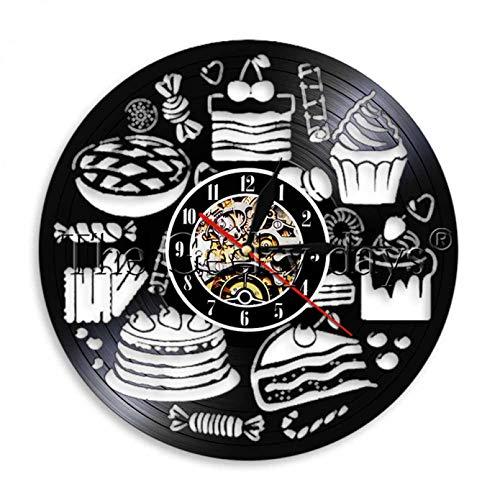 WJUNM Reloj de Pared de Vinilo de Caramelo de Pasteles Ligeros de 1 Pieza,retroiluminación deAlimentos Dulces,Reloj de Pared Decorativo Moderno para Hornear Aula