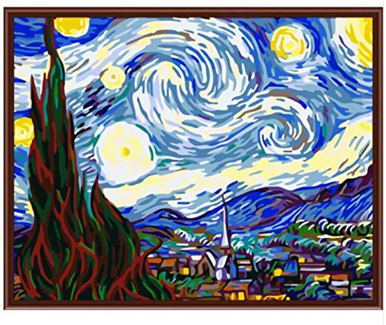 Superlucky Van Gigh Bild Malen Nach Zahlen Von Von Von Sky Wall Art DIY Digitales Ölgemälde auf Leinwand Wohnkultur Für Wohnzimmer 40x50cm Mit Rahmen B07J4STZYQ   Ausgezeichnet (in) Qualität  3f5464
