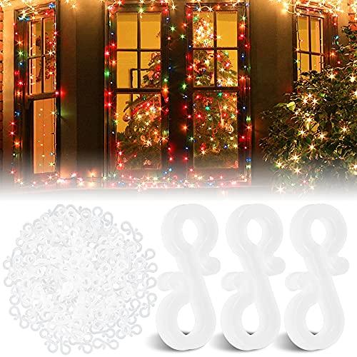 120 mini ganci in plastica per grondaia, riutilizzabili, per luci di Natale, in plastica, per esterni, per appendere su scarichi esterni e alberi di Natale (bianco)