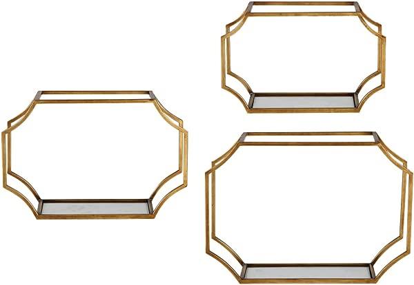 Uttermost 20 In 3 Pc Wall Shelf Set In Gold