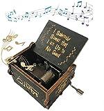 Pour Harry Potter boîte à musique en bois sculpté vintage, artisanat voyage commémoration anniversaire vacances cadeau (Noir)