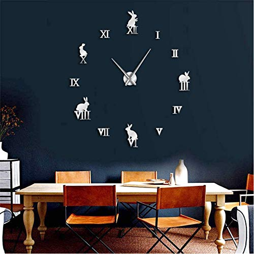 Pmhhc Rabbit with Romanumerals DIY Large Wall Clock Animals Home Decor Frameless Wall Clock Mirror Effect Bunny Children Clock Gift,47Inch