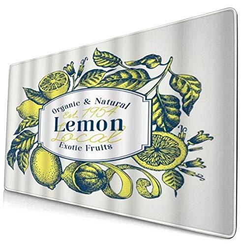 HUAYEXI Alfombrilla Gaming,Limón Frutas Exóticas Naturales Orgánicas Limonero Dibujado Mano Saludable,con Base de Goma Antideslizante,750×400×3mm