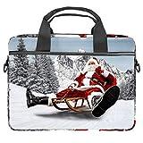 Rojo Santa Claus montar un trineo de madera portátil caso de lona patrón maletín manga portátil hombro Messenger bolsa funda para 13.5-14.5 pulgadas MacBook portátil maletín
