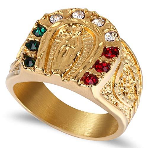 XNCBM Joyería de Acero Inoxidable para Hombre religioso Banda Anillo de Oro de la Vendimia del Tono Virgen María Signet Anillos