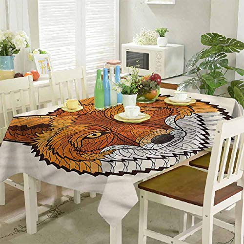 KaMiao Outdoor Picnics Mascot Face Mosaic Style 60'x120' Patio Rectangle Tablecloth