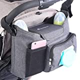 LittleXplorer Baby Stroller Organizer: Diaper Caddy - Extra Stroller Cup Holders - Wet Wipes Dispenser Pocket - Changing Pad and Toy Storage - Attaches to Single, Double, Jogging or Umbrella Stroller