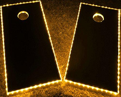 GlowCity Light Up LED Cornhole Boards Kit (2 board Kit) Double The Illumination With Closer Spaced LED's (Yellow)