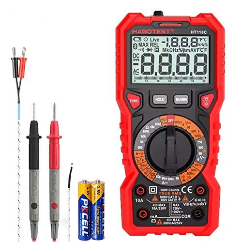 SP-Cow Digital Multimeter mit 6000 Counts, mit True RMS,AC/DC Voltage Current Detector,temperaturmessungund Durchgangsprüfung,außenleiter-Identifizierung,LCD-Anzeige und hintergrundlicht