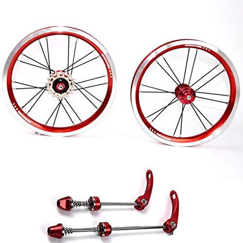 GJZhuan 14'' 16'' 20'' Ruote Bici Pieghevole Ruote in Lega di Alluminio Impostata Ruota Anteriore Posteriore Cerchione Ruota V-Freno BMX Bicicletta Cerchi Set 8/9/10/11 velocità