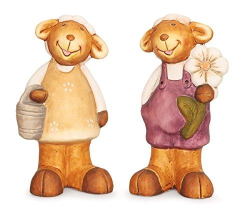 2x Deko Figur Gartenfigur Wichtel Mädchen und Junge im Set aus Ton grau weiß braun je 16 cm groß, witzige Dekofigur Wichtelkinder für Garten oder Fensterbrett