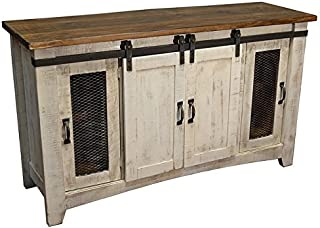 Burleson Home Furnishings Anton Distressed White Sliding Barn Door Farmhouse 60 Inch Tv Stand with Brown Wood Top and Hand Forged Custom Handles. Fully Assembled Shabby Chic Console (White, 60)