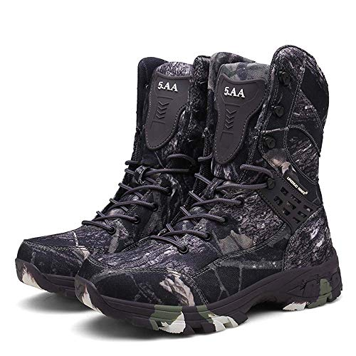 Bititger - Botas de desierto militares de piel, impermeables, con cremallera, botas tácticas y de combate para hombre, para patrullas, de seguridad, para policías, color, talla 42 2/3 EU