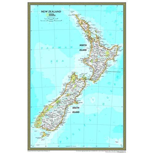National Geographic Atlas Nueva Zelanda Mapa de la pared Cartel antiguo Sala de estar Etiqueta de la pared Casa Arte Decoración Lienzo Impresión Pintura (40X60Cm Sin marco)
