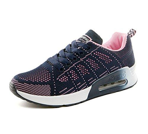 Zapatillas de Deportivos de Running para Mujer Gimnasia Ligero Sneakers Air Cushion Negro Azul Gris Blanco Azul-1 40