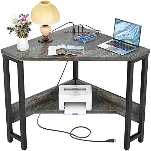 Armocity Corner Desk Small Desk with Outlets Corner Table for Small Space, Corner Computer Desk with USB Ports Triangle Desk with Storage for Home Office, Workstation, Living Room, Bedroom, Oak