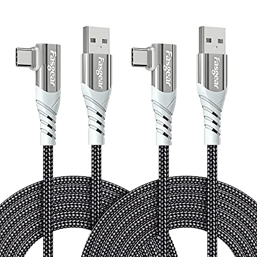 Fasgear Cable USB C de 90 grados: cable de carga rápida tipo C de ángulo recto compatible con Sam-sung Galaxy S20 S10 Plus S9 S8 A70 A51 | Hua-wei P30 P20 | Red-mi Note 8 (10 pies, 2 negro)