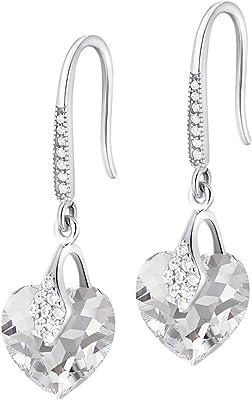 Crystals&Stones – Orecchini a forma di cuore in argento 925 – cristallo – orecchini con cristalli Swarovski® – bellissimi orecchini da donna – meravigliosi orecchini con scatola regalo