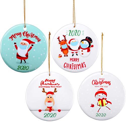 WILLBOND 4 Pieces 2020 Christmas Tree Hanging Ornaments Round Shaped Snowman Ceramic Ornament Santa Claus Tree Decoration Quarantine Cartoon Tree Pendant for Holiday Party Decoration