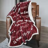 Macevia Inspirational Sherpa Fleece Healing Thoughts Blanket - Super Soft Sympathy Prayer Throw Blanket Get Well Soon Gifts for Women, Men or Breast Cancer Patient 50×60 Inch (Wine)