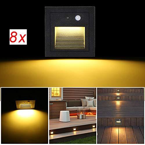SUBOSI 8er LED Wandeinbaustrahler 3W Wandleuchte Treppen Stufenlicht Lampe Bewegungsmelder Boden Einbauleuchte Treppenleuchte Flurlampe 2800K Warmweiß