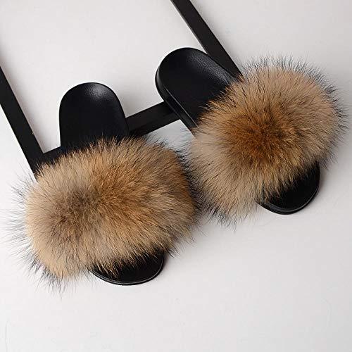 LANKOULI Hausschuhe Damen Sommer tragen eine gerade Drag Fell Pelz Sandalen-Waschbär Haarfarbe_36-37 (23 cm)