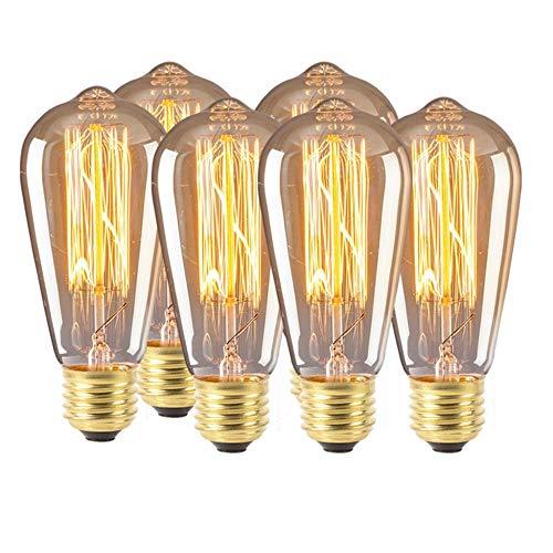 Led-retrolamp, vintage, Edison-lamp, ST64 2/4/6 W, E27, 220 V, decoratief, koolstoffilament 6 stuks