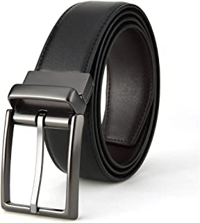 Men Belt Genuine Leather Dress Belt Reversible with Single Prong Rotated Buckle (Color : Black+Coffee, Size : L)