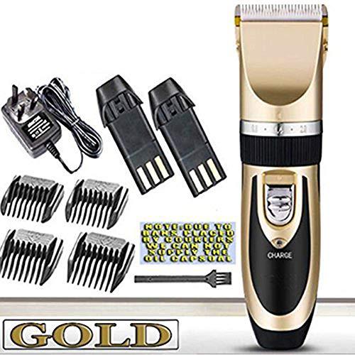 Tondeuse à cheveux super silencieuse batterie sans fil Machine à couper les cheveux électrique TONDEUSE À CHEVEUX RECHARGEABLE maison Barber Clippers Set (Gold)