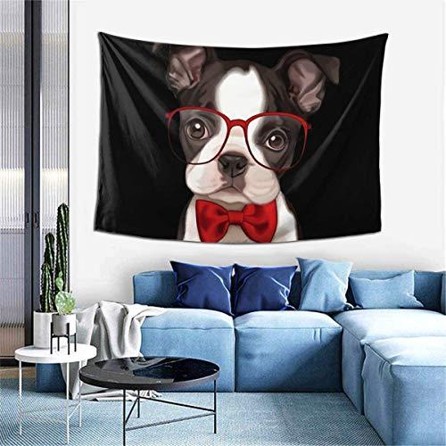 Lindo perro con gafas tapiz colgante de pared arte de la pared mural de impresión para el hogar hermosa decoración multifunción para el hogar 60 'X 40'