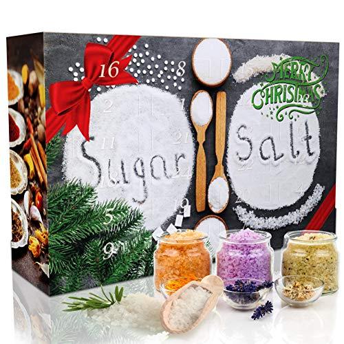 C&T Sugar&Spice Gewürze Adventskalender 2020 - 24 edle Gewürzssalze plus 6 Gewürzzucker GRATIS - Weihnachtskalender Zucker Salz Geschenkidee mit Natursalzen & Naturpfeffern für Erwachsene