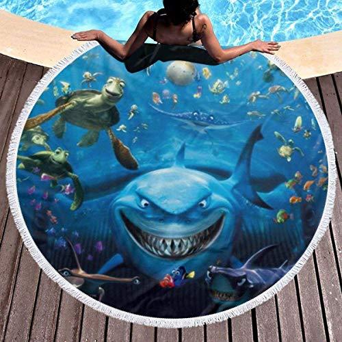 Toalla de playa redonda gruesa con diseño de tiburón, con borla circular, manta de picnic al aire libre, decoración de playa de microfibra para mujer