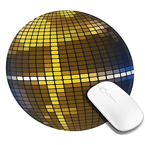 Gaming Mausepad,Mausmatte,Mehrzweck Maus Pad,Gummiunterseite Mouse Mat,Pad Maus Unterlage,Gold Reflektierende Disco Kugel,Büro Auflage,Glattes Mousemat Haus,Büro,Computer Laptop,Arbeit 20cm