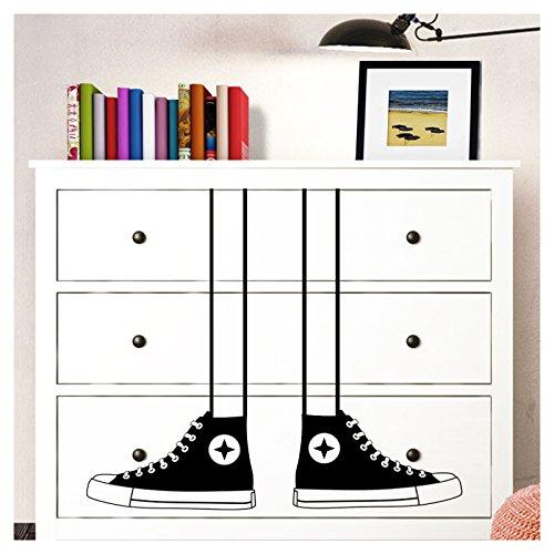 Wandaro W3345 Wandtattoo sneakers schoenen geschikt voor IKEA HEMNES commode kinderkamer kindersticker wandsticker wie beschrieben lichtblauw