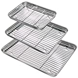 Baking Sheet & Rack Set (3 Sheets & 3 Racks), Durable Stainless Steel Baking Pans with Cooling Rack, Mirror Polished Cookie Pan with Rack Rust Free Baking Tray Dishwasher Safe