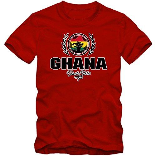 Fußball Ghana V2 T-Shirt | Fußball | Herren | Black Stars | Trikot | Nationalmannschaft, Farbe:Rot (Red L190);Größe:L