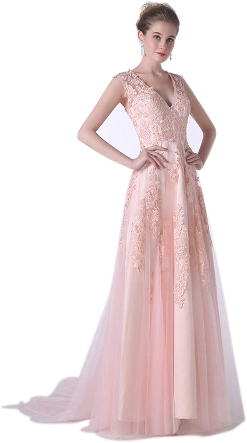 Quintion Norris Women's Sweet Sleeveless vNeck Long Evening Dress Formal Party Prom Gown