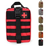 HX OUTDOORS Tactical MOLLE Rip-Away EMT Medical First Aid IFAK Lifesaving Pouch,Outdoor Medical Package,Mountaineering/Climbing Rescue Tools Package Made of 600D Waterproof Fabric (Red)