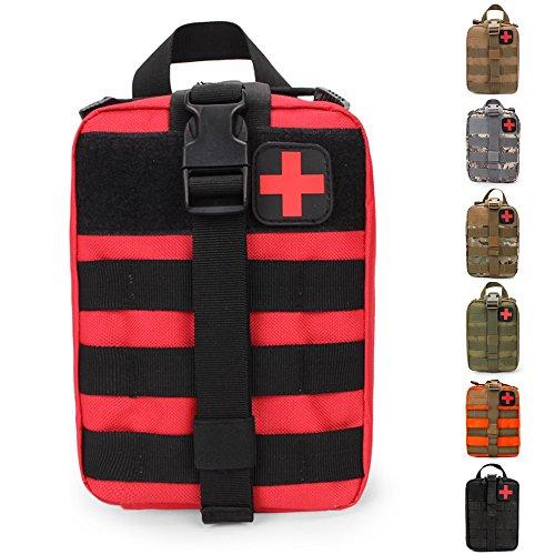 HX OUTDOORS, astuccio per kit di pronto soccorso, removibile, con sistema MOLLE, adatto a trekking/scalata e altre attività all'aperto, realizzato in tessuto impermeabile a 600 D, Red