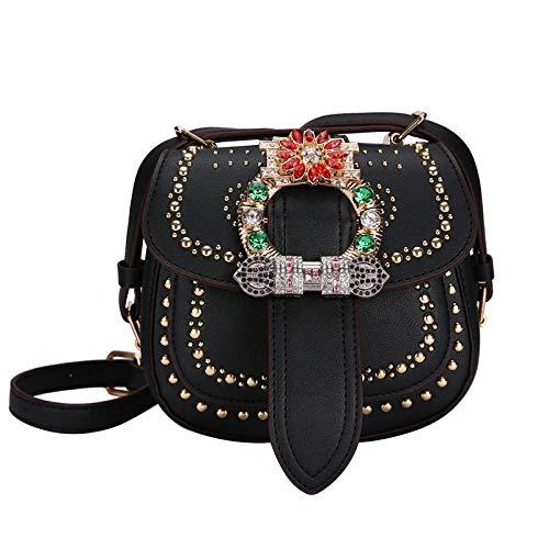 Bolso de mano para mujer, con tachuelas de diamante, bolsa de hombro, color Negro, talla Medium