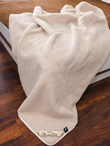 ,BEIGE,Naturhaar Wolldecke 100% Merino Wolle Kamel Decke 200 x 200 cm Kamelwolle Schurwolle Bettdecke Elegance Light Kamelhaar Neuseeland