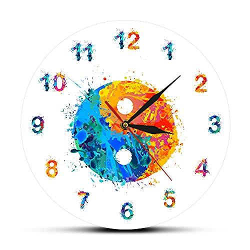 Tbqevc Reloj de Pared con Estampado de Acuarela, símbolo artístico, Reloj de Pared Mudo y decoración Zen Feng Shui, 30X30 CM
